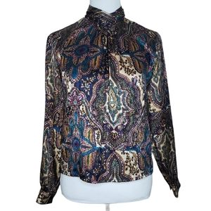 Notations Vintage Blouse Size 6 Petite High Collar
